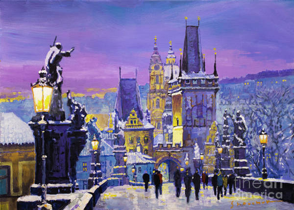 Painting - Prague Winter Charles Bridge 3 by Yuriy Shevchuk
