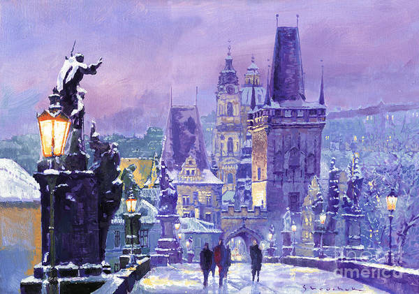 Czech Republic Painting - Prague Winter Charles Bridge by Yuriy Shevchuk