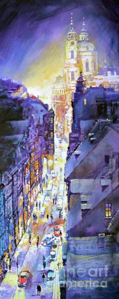 Wall Art - Painting - Praha Mostecka Str. Winter Evening by Yuriy Shevchuk