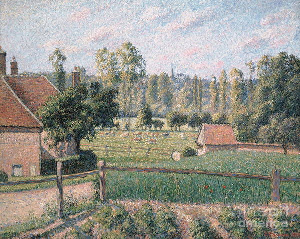 Wall Art - Painting - Prairie At Eragny, 1889 by Camille Pissarro