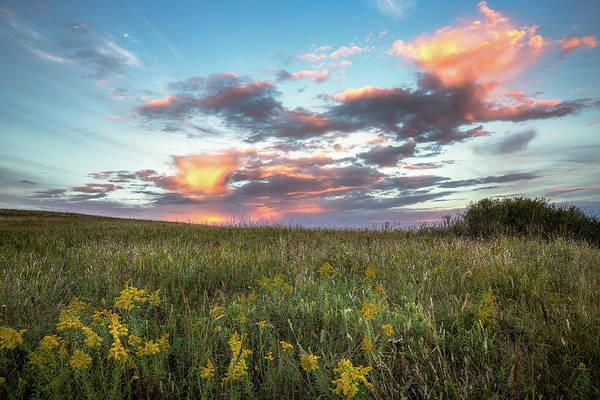 Tallgrass Wall Art - Photograph - Prairie Fire - Beautiful Sky Over Tallgrass Prairie In Oklahoma by Southern Plains Photography