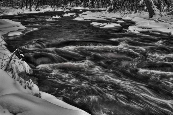 Photograph - Prairie River Winter Exposure Black And White by Dale Kauzlaric