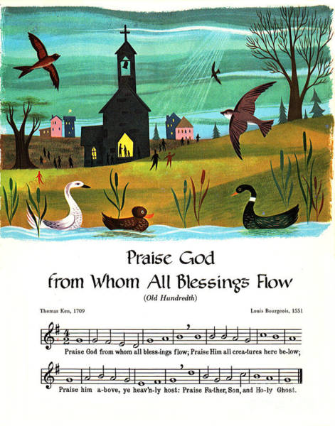 Wall Art - Mixed Media - Praise God From Whom All Blessings Flow, Old Hundredth, Seventeenth Century Hymn, Poster Print by Zal Latzkovich