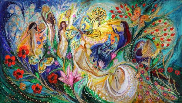 Kabbalistic Wall Art - Painting - Praise Him With The Timbrel And Dance by Elena Kotliarker