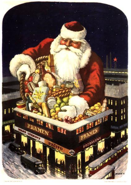 Santa Mixed Media - Pramen, Maso Uzeniny - Santa Claus' Gift - Christmas - Vintage Food Advertising Poster by Studio Grafiikka