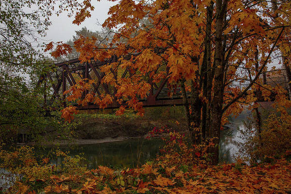 Douglas County Wall Art - Photograph - Pratt Truss Railroad Bridge Decked Out In Fall Colors by Bridget Calip