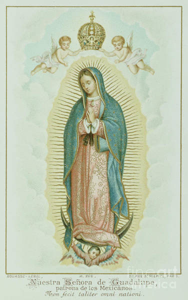Central America Painting - Prayer Card Depicting Our Lady Of Guadalupe by French School