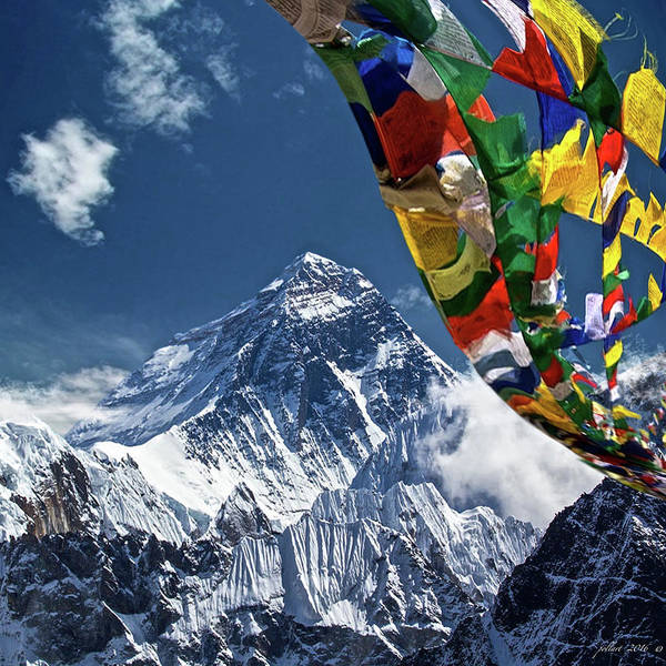 Vogue Mixed Media - Prayer Flags, Mount Everest by Thomas Pollart