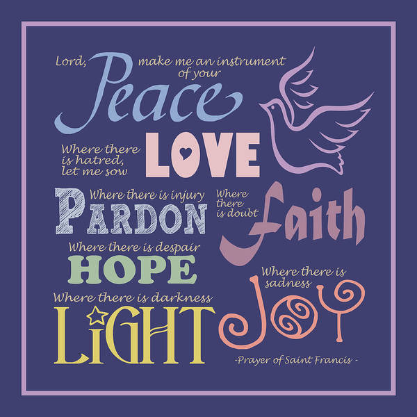 Wall Art - Digital Art - Prayer Of St Francis - Square Pastel Typographic by Ginny Gaura