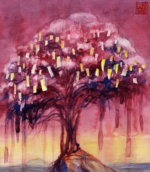 Tibetan Painting - Prayer Tree II by Janet Chui