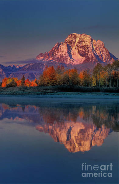 Photograph - Pre-dawn Autumn Tetons Oxbow Bend Grand Tetons National Park by Dave Welling