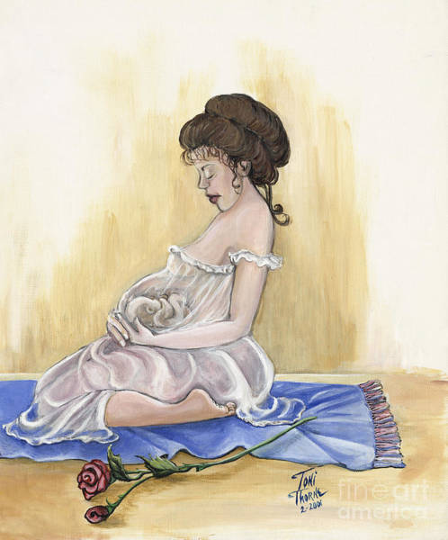 Pregnancy Painting - Precious Moments by Toni  Thorne