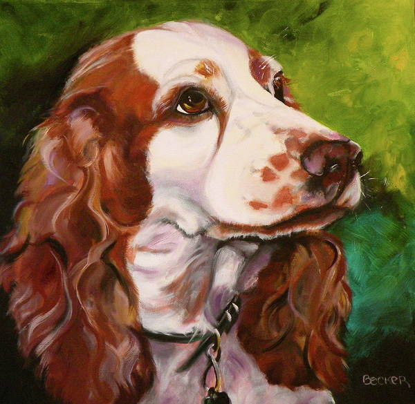 Welsh Springer Spaniel Painting - Precious Spaniel by Susan A Becker