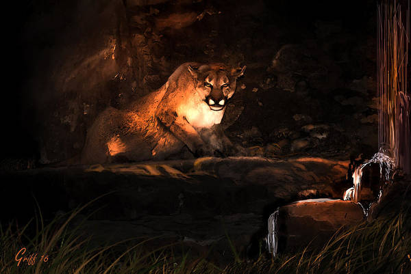 Mountain Lion Digital Art - Precious Water by J Griff Griffin