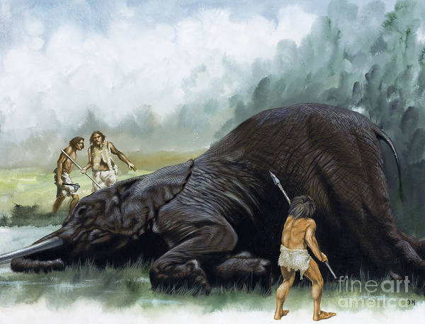 Wall Art - Painting - Prehistoric Hunters by David Nockels