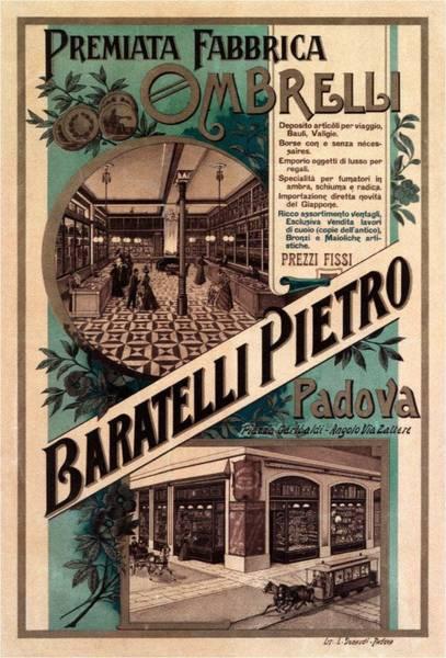 Product Mixed Media - Premiata Fabbrica Ombrelli - Baratelli Pietro - Vintage Advertising Poster by Studio Grafiikka