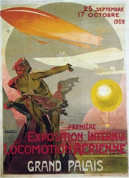 Wall Art - Mixed Media - Premiere Exposition Internle De Locomotion Aerienne - Grand Palais - Retro Travel Poster - Vintage by Studio Grafiikka