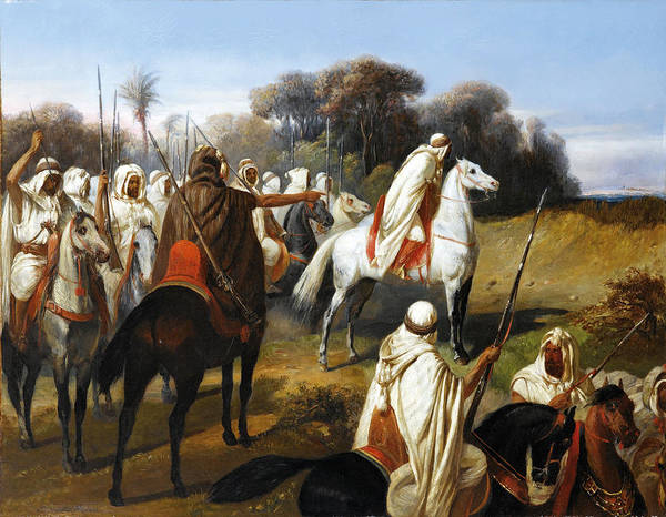Wall Art - Painting - Preparing For Battle. Possibly Abd-el-kader And His Troops by Francois-Emile de Lansac