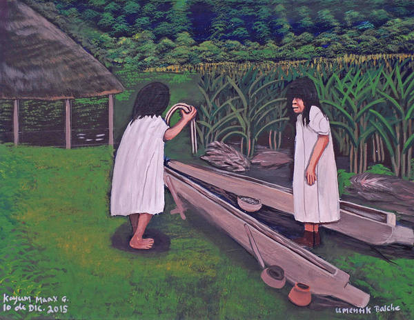 Wall Art - Painting - Preparing For The Balche Ceremony by Kayum Ma'ax Garcia