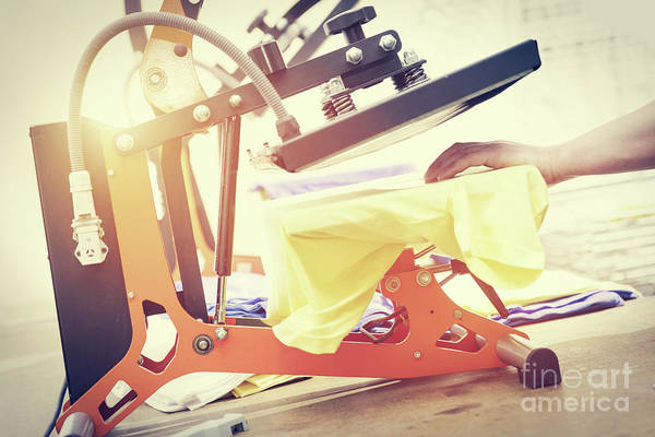 Electronic Ink Wall Art - Photograph - Preparing T-shirt For Printing In The Silk Screen Printing Machine by Michal Bednarek