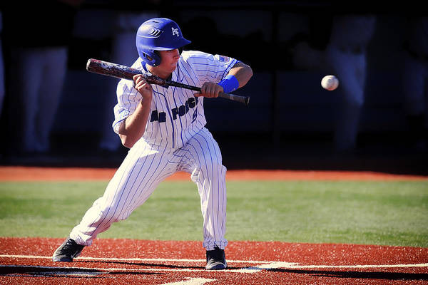 College Baseball Photograph - Preparing To Bunt by Mountain Dreams