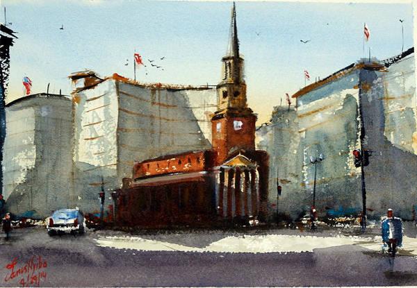 Steeple Wall Art - Painting - Presbyterian Church, Ny Avenue Washington Dc by James Nyika