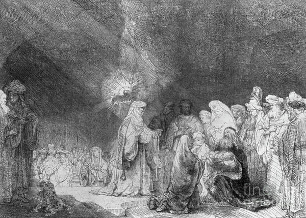 Madonna Drawing - Presentation In The Temple by Rembrandt