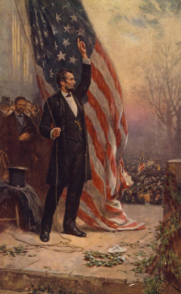 Honest Painting - President Abraham Lincoln Giving A Speech by Jean Leon Gerome Ferris