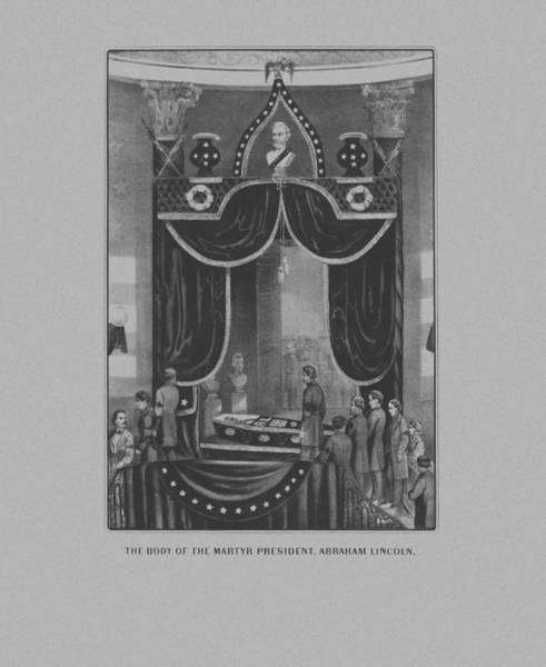 American History Drawing - President Abraham Lincoln Lying In State by War Is Hell Store