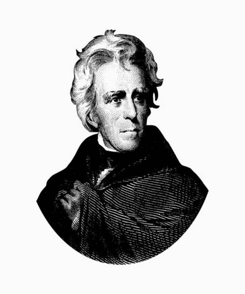 Government Digital Art - President Andrew Jackson Graphic Black And White by War Is Hell Store