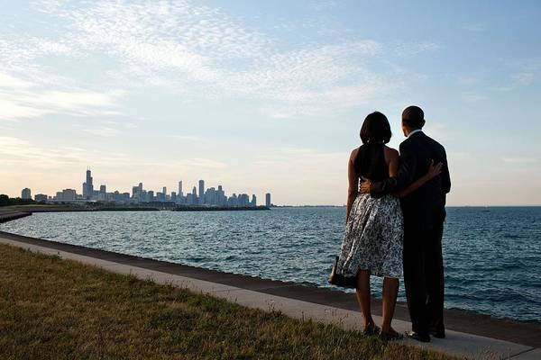 Wall Art - Painting - President Barack Obama And First Lady Michelle Obama Look Out At The Chicago, Ill., Skyline by Celestial Images