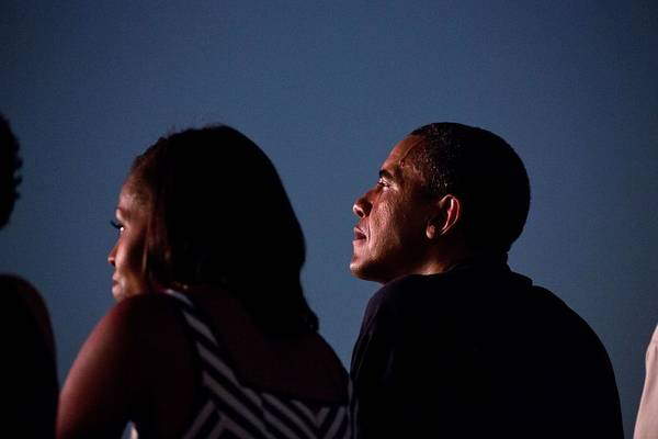 Wall Art - Painting - President Barack Obama And First Lady Michelle Obama Watch From The White House Roof As Fireworks by Celestial Images