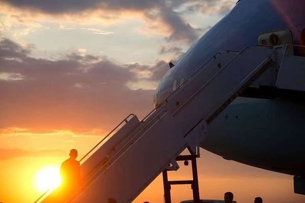 Wall Art - Painting - President Barack Obama Boards Air Force One by Celestial Images