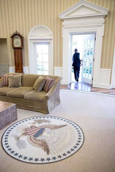 Wall Art - Painting - President Barack Obama Exits The Oval Office by Celestial Images