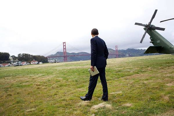 Wall Art - Painting - President Barack Obama Looks At The Golden Gate Bridge by Celestial Images