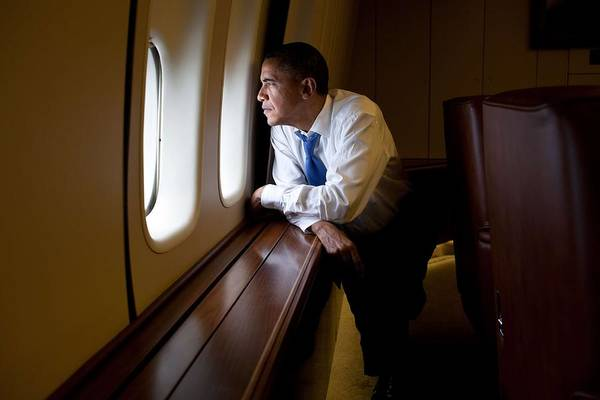 Wall Art - Painting - President Barack Obama Looks Out A Window Of Air Force One by Celestial Images