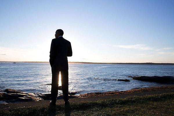 Wall Art - Painting - President Barack Obama Looks Out Over The Water by Celestial Images