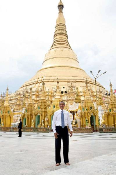 Wall Art - Painting - President Barack Obama Poses For A Photo In Front Of The Shwedagon Pagoda In Rangoon, Burma by Celestial Images