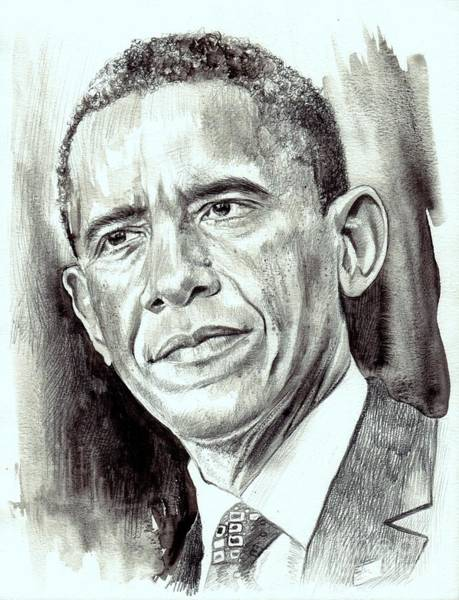 Barack Obama Wall Art - Painting - President Barack Obama by Suzann Sines
