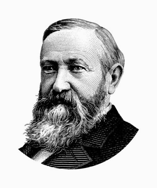 Government Digital Art - President Benjamin Harrison Graphic - Black And White by War Is Hell Store