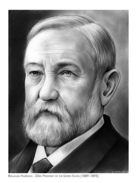 Political Wall Art - Drawing - President Benjamin Harrison by Greg Joens