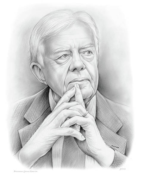 United States Drawing - President Carter by Greg Joens