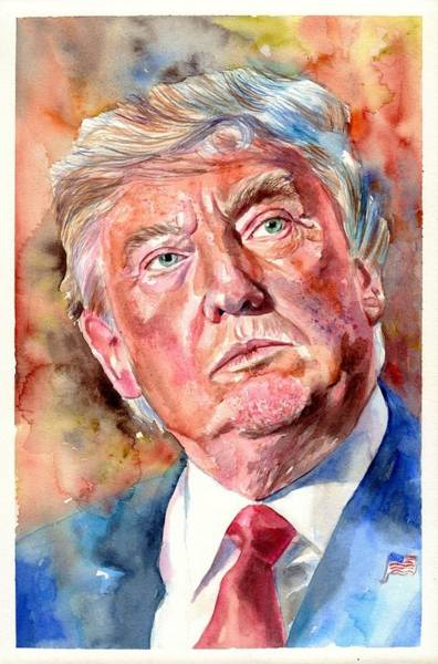 Obama Painting - President Donald Trump Painting by Suzann's Art