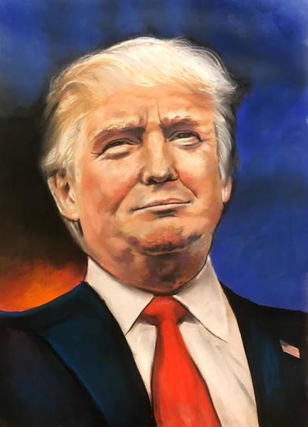 Wall Art - Drawing - President Donald Trump Portrait by Robert Korhonen