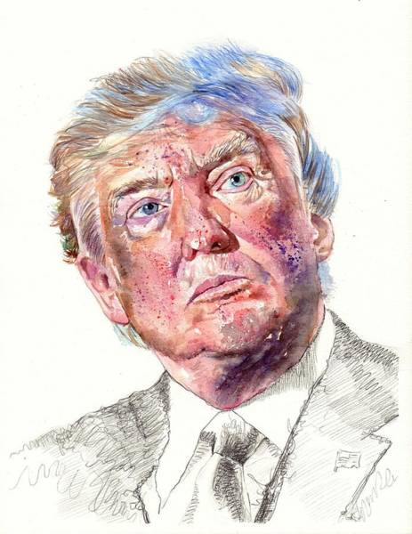 Investment Wall Art - Painting - President Donald Trump Portrait by Suzann's Art
