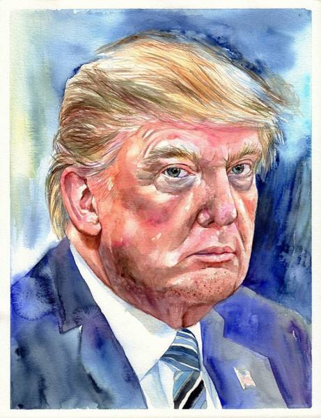 Obama Painting - President Donald Trump by Suzann's Art