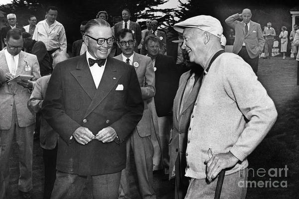 Photograph - President Dwight D. Eisenhower And Samuel F. B. Morse 1956 by California Views Archives Mr Pat Hathaway Archives