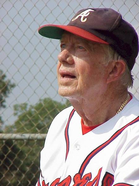 Photograph - President Jimmy Carter - Atlanta Braves Jersey And Cap by Jerry Battle
