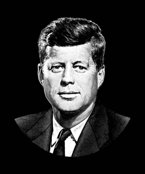 President John F. Kennedy Graphic Black And White  Art Print