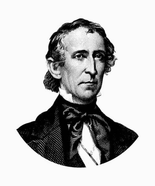 Wall Art - Digital Art - President John Tyler Graphic - Black And White by War Is Hell Store